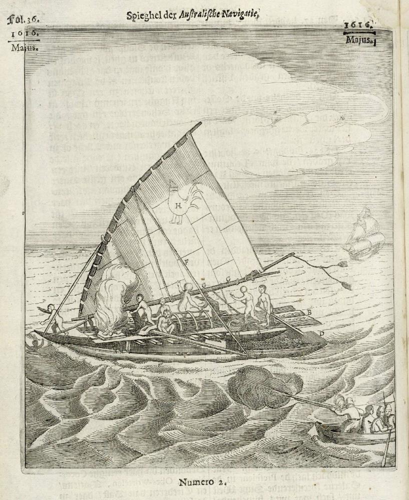 The expedition of Schouten and Le Maire fires on a small vessel in the Pacific