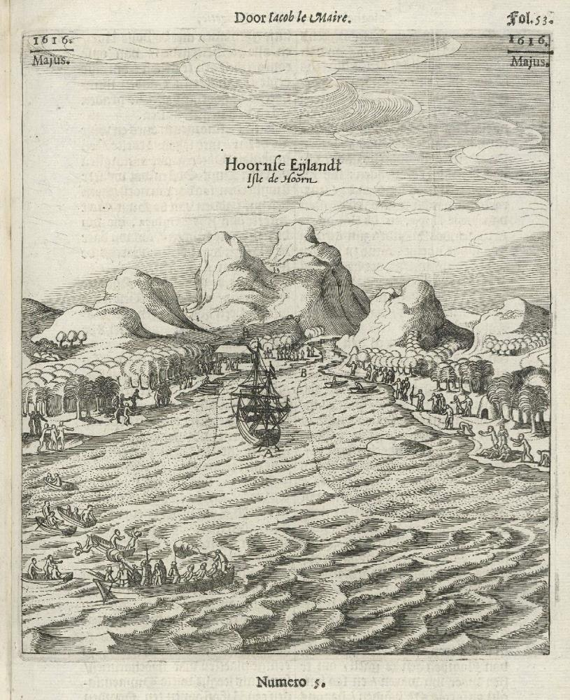 View of the island of Hoorn in the Pacific Ocean