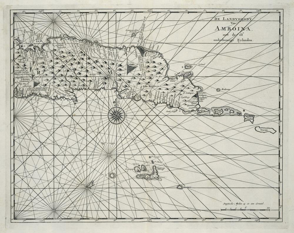 Map of the eastern part of Seram showing the Banda Islands