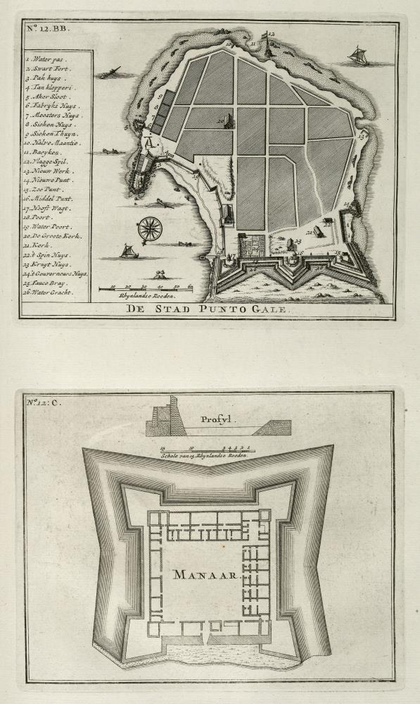 Maps of the city of Punto Gale and the fort of Manaar
