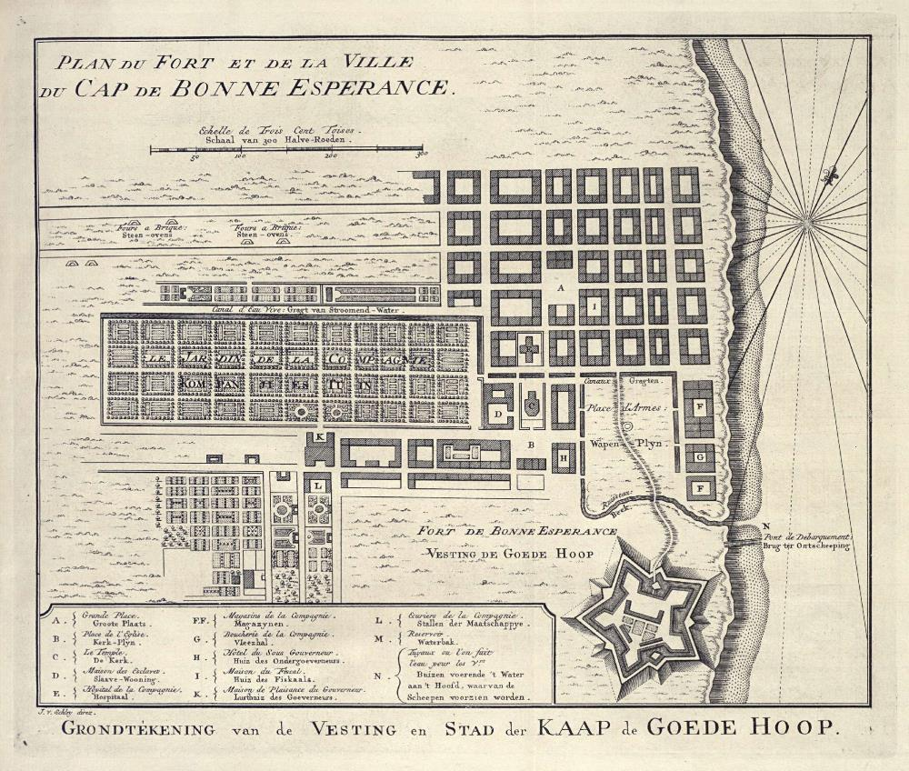 Map of Cape Town and the fort De Goede Hoop (Good Hope)