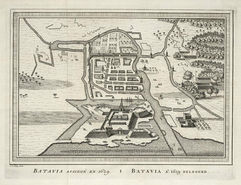 Bird's eye view map of the siege of Batavia in 1629