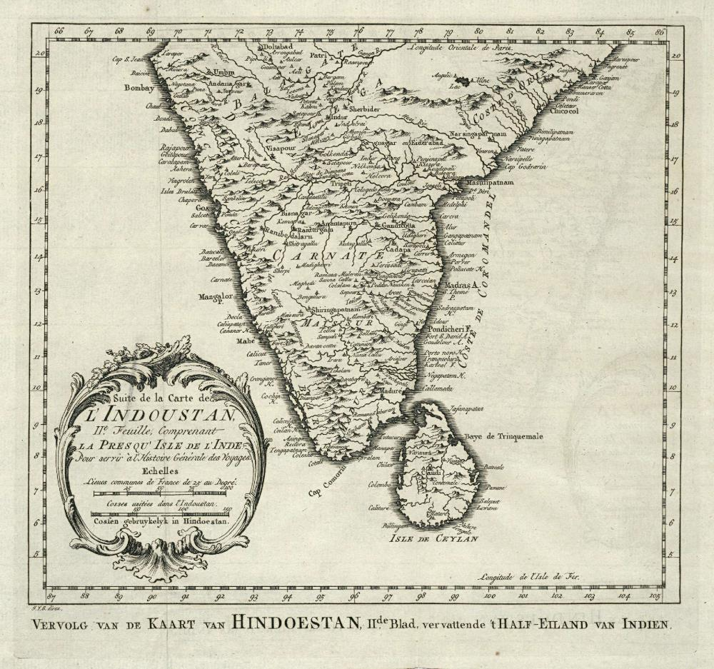 Map of the southern part of India
