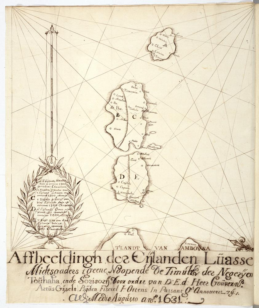 Map of the islands of Haruku, Saparua and Nusa Laut near Ambon, expedition of A. Gijsels