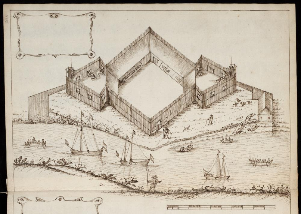 View of a newly designed fort and lodge on the island of Damme in the Moluccas