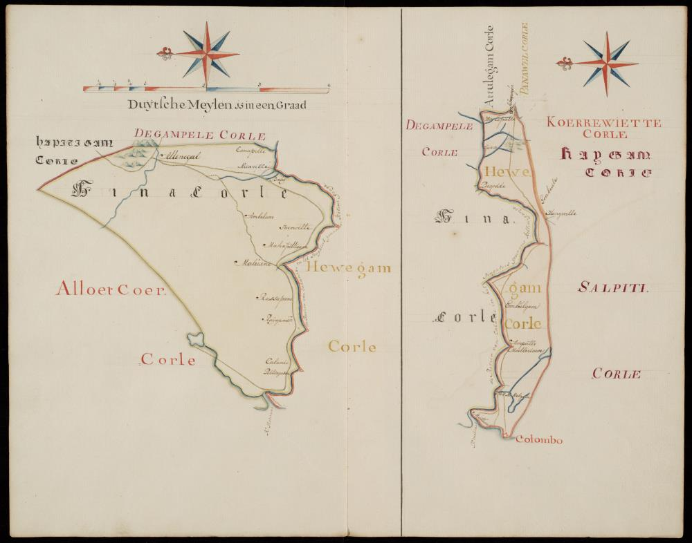 Two maps of Hina Corle and Hewegam Corle