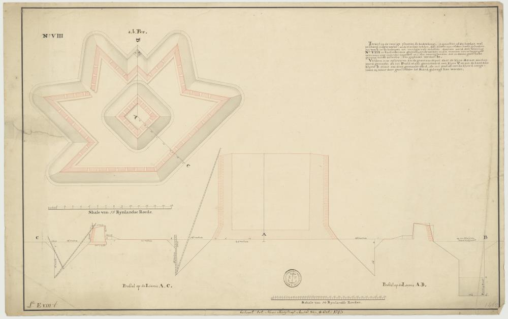 Plan for a bastion for the Piscadera, Saint Michiel and Porto Marie Bays