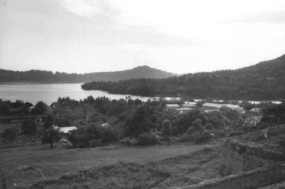 View of Lonthor and Gunung Api from Fort Belgica on Bandanaira