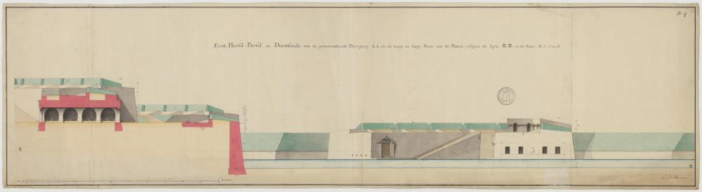 Map and elevation of the main gate to Fort Oostenburg at Trinconomale