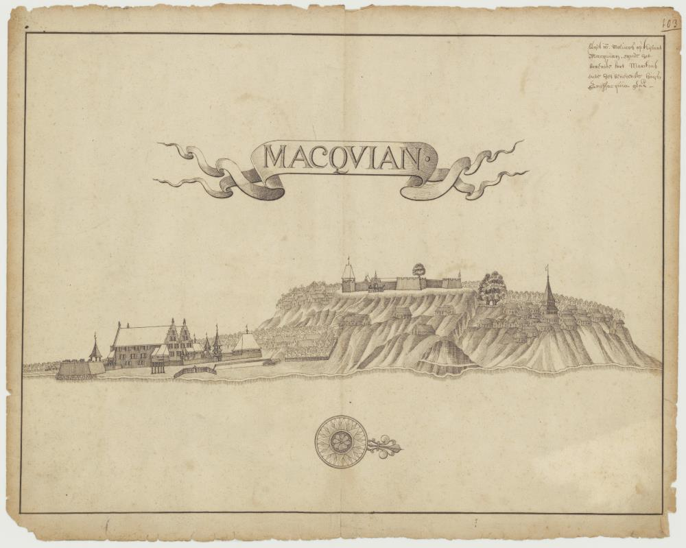View of the forts of Mauritius and Gnofficquia on Macquian
