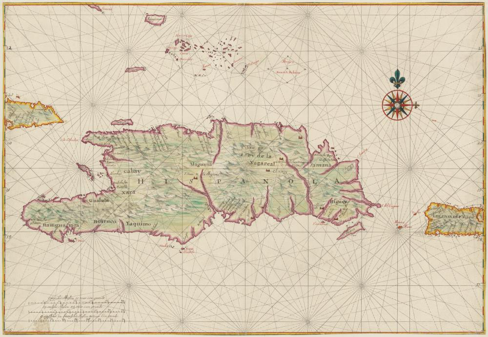 Map of Hispaniola and Puerto Rico