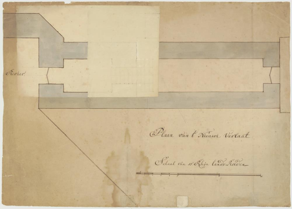 Maps and elevations for hydro-engineering works on the Groote Rivier in Batavia