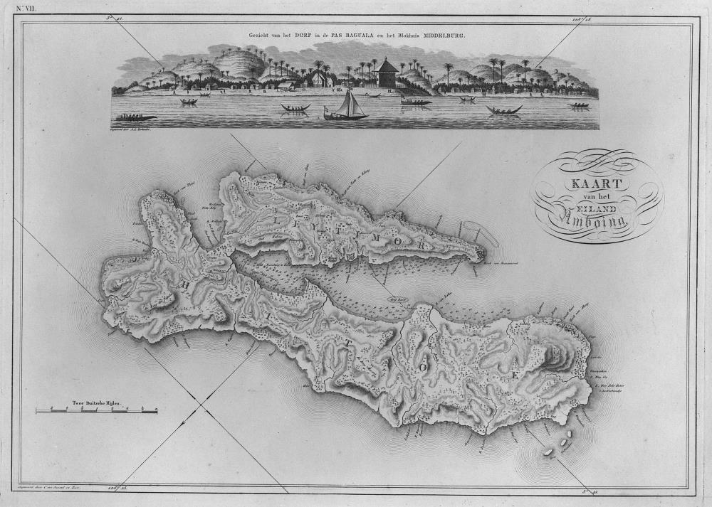 Map of the island of Ambon and a view of Pas Baguala