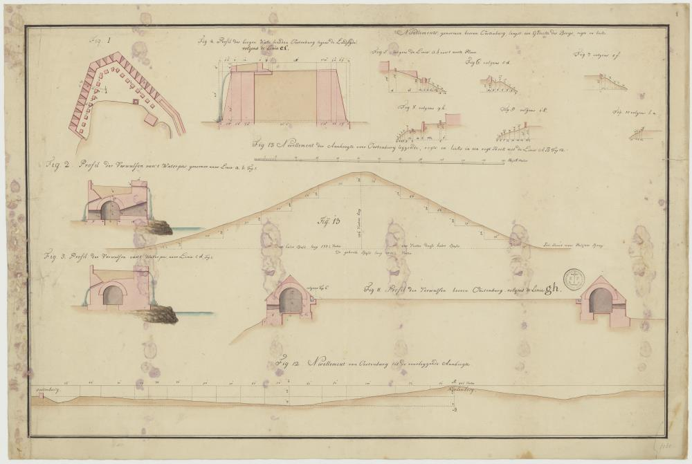Map and elevations of Fort Oostenburg